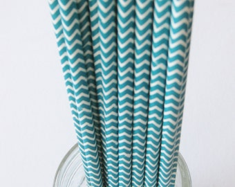 25 Paper Aqua and White Chevron Pattern Straws - Free Printable Straw Flags