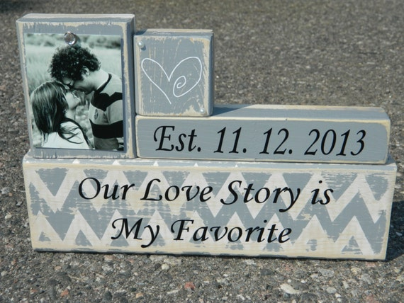 Wedding gift personalized wooden blocks chevron our love story is my favorite wedding shower anniversary grey personalized photo