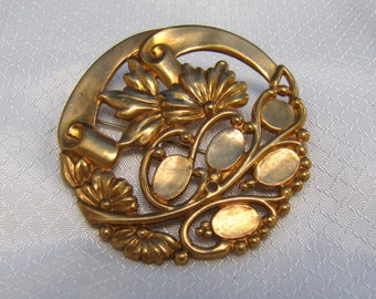 c1920's Victorian Stamped and Perforated Metal Floral Brooch