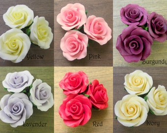 "5 1-1/2"" Gumpaste Roses - Red Pink Burgundy Yellow Ivory or Lavender. Fondant Edible Wedding Cake Toppers :)"