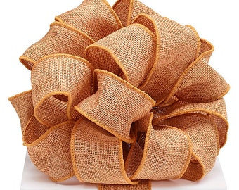 "5YDS Golden Brown BURLAP 2-1/2"" Wired Wire Edge Ribbon"