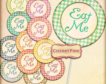 Alice in Wonderland Cake toppers, Eat me topper, Instant download party printable, bright and colourful Wonderland party supplies