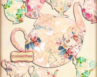 ALICE TEA PARTY backdrop props,  Alice in Wonderland printable teacups and teapots, digital download