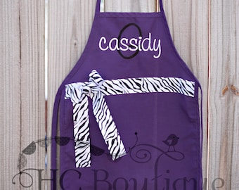 PURPLE X-Large Personalized Child's Apron with Ribbon and Bow