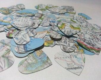 Map Hearts, Atlas Hearts, Mini Hearts, Atlas Heart Punches, Heart Die Cuts, Atlas Heart Confetti, Heart Map Cut Outs, Heart Die Cuts Atlas