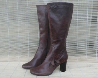 Vintage Lady's Zip Up Brown Leather Chunky Heel Boots Size EUR 37 / US Woman 6 1/2