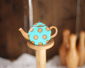 Spotty Teapot Brooch (Aqua)
