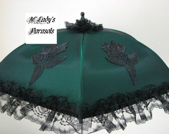 VICTORIAN PARASOL Umbrella in Deep Green Satin with Embroidered Appliques and Black Lace Ruffle Sun Shade Costume Renaissance Pageant