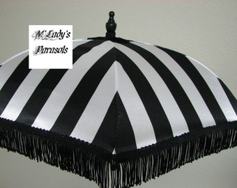 VICTORIAN PARASOL Umbrella in Elegant Black and Pure White Stripe Satin and Black Fringe Sun Parasol Shower Sun Shade Steampunk Bridal Goth