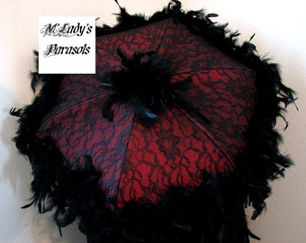 VICTORIAN PARASOL Umbrella in Deep Red Satin, Black Lace Overlay, Black Chandelle Feather Trim Second Line Reenactment Steampunk Old West