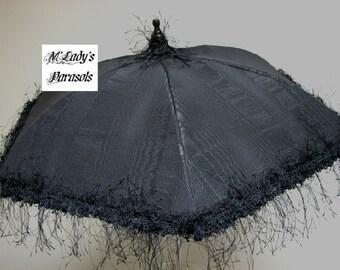 VICTORIAN PARASOL Umbrella in Elegant Black Moire Taffeta with Black Eyelash Fringe Mourning Steampunk Second Line Costume Goth Edwardian