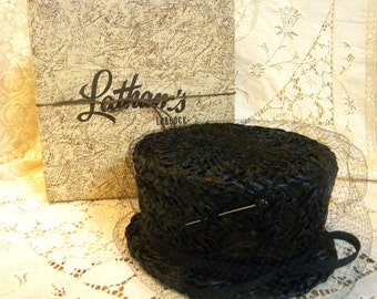 Vintage Ladys Straw hat with veil in original Latham's hat box with hat pin