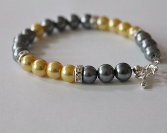 Gray and Yellow Pearl and Rhinestone Bracelet