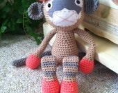 Crochet amigurumi monkey stuffed animal with fabric embellishment FREE US SHIPPING