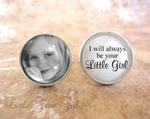 Custom Photo Father of the Bride Cuff Links - I will always be your Little Girl - Silver Wedding Cufflinks - Personalized Picture Cuff Links