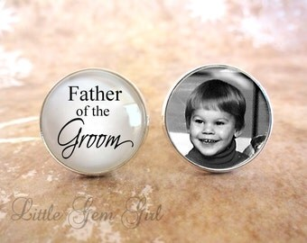 Father of the Groom Cuff Links - Custom Photo Cufflinks for Dad - Wedding Keepsake Personalized Picture - Sterling Silver or Stainless