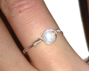 Delicate Rainbow Moonstone Ring Pinkie/Child Sterling Silver
