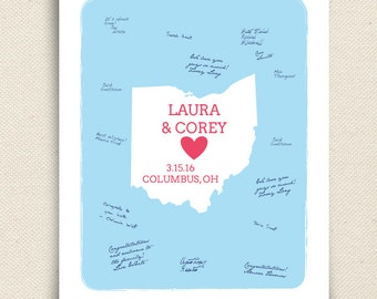 Wedding Guest book  - Ohio State Art Print - Personalized State Guest book- Keepsake United States Wedding Guestbook Art  - Peachwik