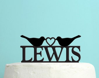 Wedding Cake Topper - Personalized Love Birds Cake Topper -  Last Name Wedding Cake Topper -  Custom Colors - Peachwik Cake Topper - PT20