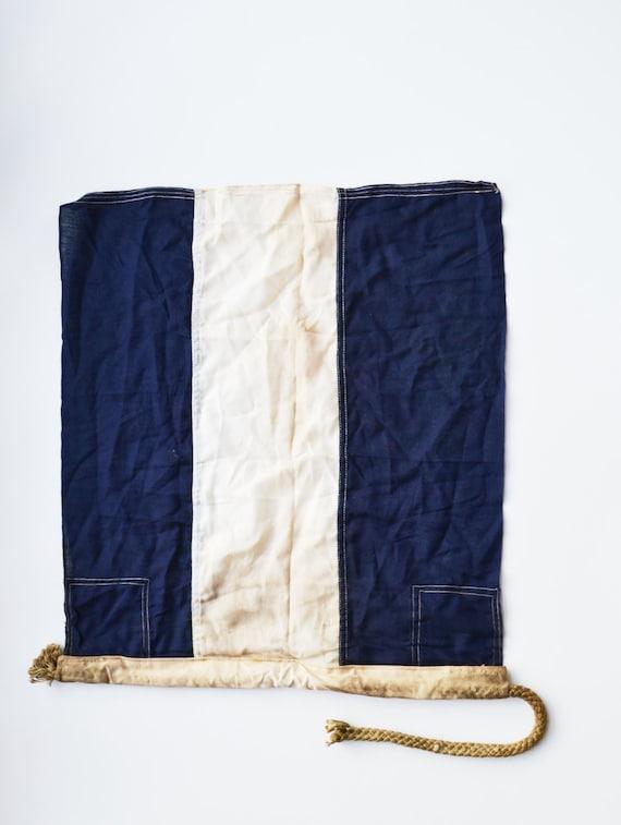 Vintage Naval Signal Flag Nautical Signal Flag Blue and White Signal Flag J Juliet