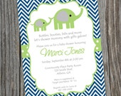 Blue and Green Elephant Baby Shower Invitation.  Printable Baby boy Chevron Elephant Shower Invitation.  Boy baby shower Invitation.