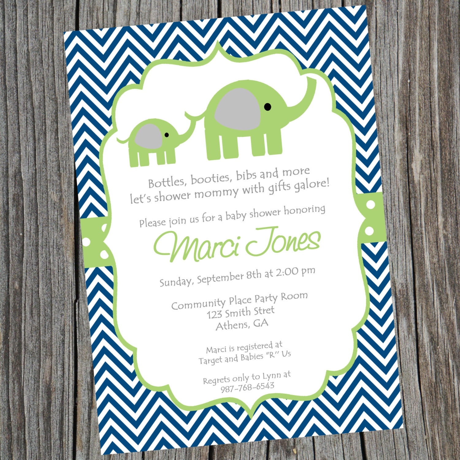 Baby Shower Boy Invitation: Blue And Green Elephant Baby Shower Invitation. Printable