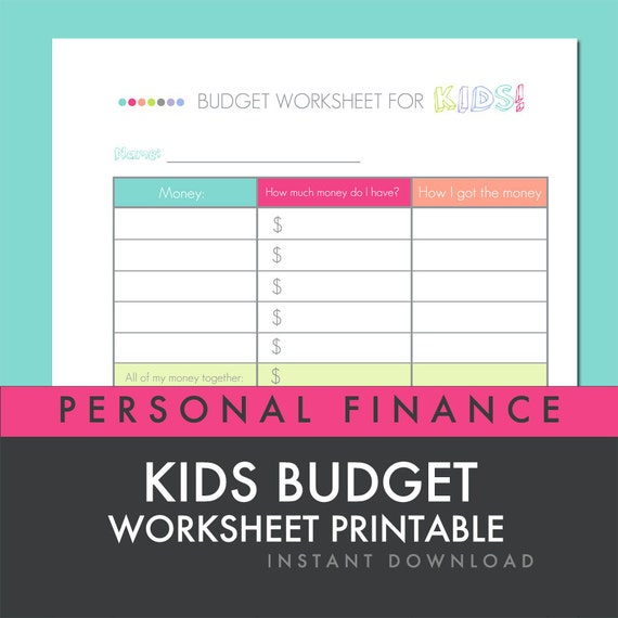 Items similar to Kids Budget Worksheet - Printable PDF - Personal ...