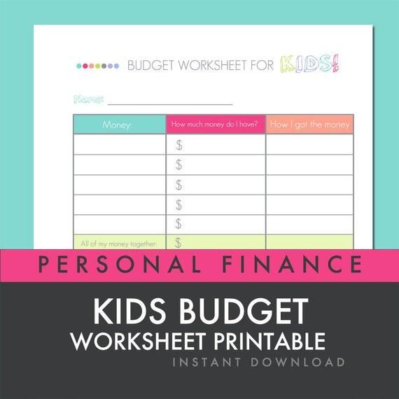 Kids Budget Worksheet Printable PDF Personal by ...