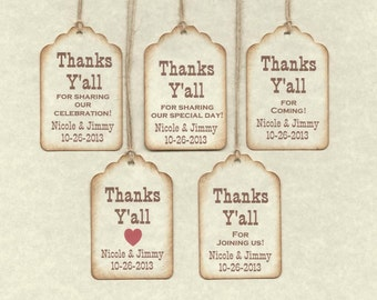 25 Custom Thanks Y'ALL or YA'LL Tags/ Gift Tags/Shower/Wedding Favor Tags/ Vintage Style Personalized-Redneck Thank You / Labels Hang Tags