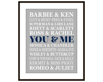 Famous Couples You & Me Typography Art Print in 3 Sizes