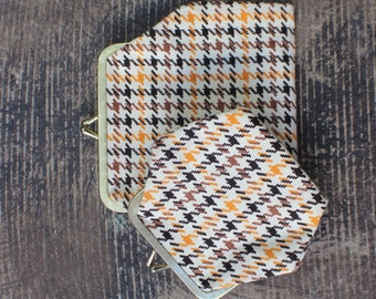 Hounds Tooth Coin Purse Set / Two Vintage Change Purses / Matching Pouch