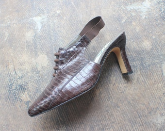 Size 9 1/2 Vintage Heels / Pointy Toe Reptile Leather Sling Backs / 90's Women's Pumps