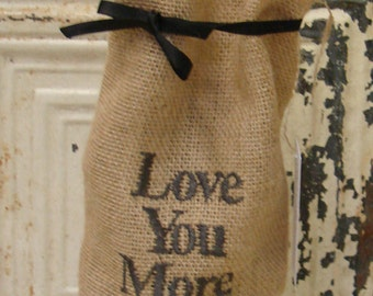 Love You More Hostess Wine Gift Bag, Reusable Holiday Wrapping