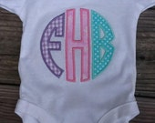 Appliqued circle Initial Shirt or onsie for girls or boys... Ruffles and Bow Ties