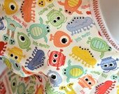 Shirt Saver Full Coverage Baby or Toddler Bib With Long Sleeves and Pocket - Monsters
