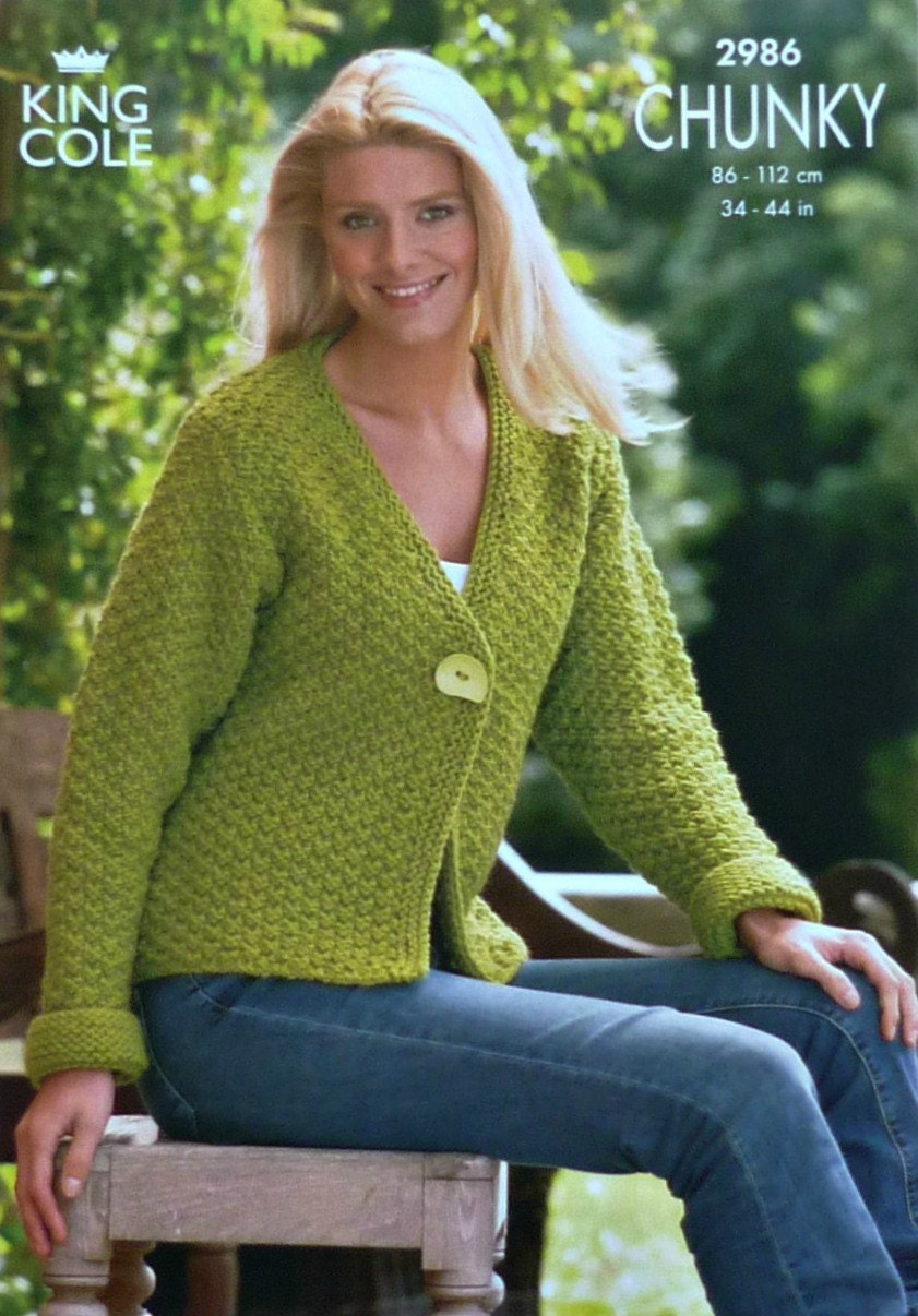 Knitting Pattern Moss Stitch Cardigan : Womens Knitting Pattern K2986 Ladies Long Sleeve Moss Stitch Cardigan Knittin...