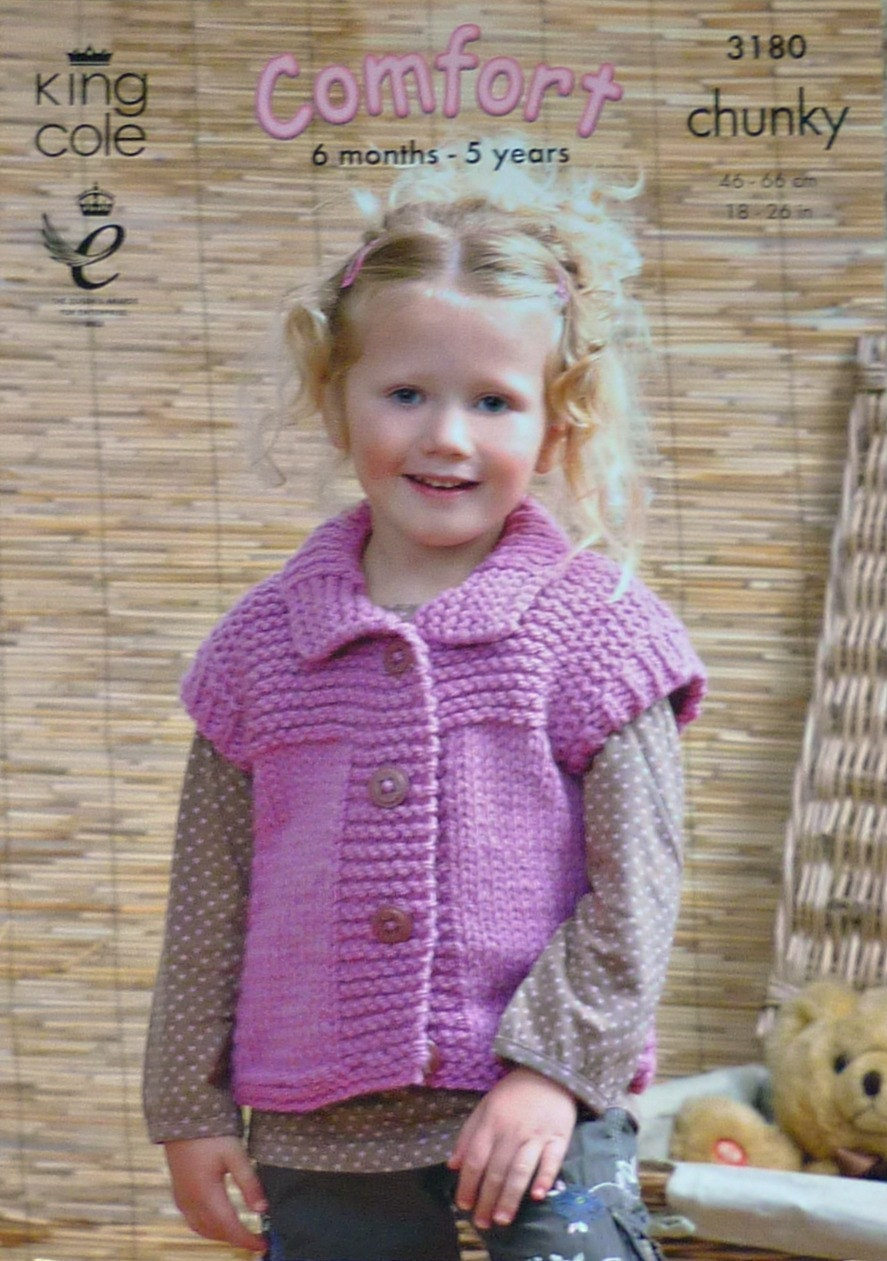 Girls Knitting Pattern K3180 Childrens Easy Knit Sleeveless Waistcoat with Co...
