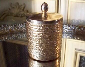Vintage Napier Gold Filigree Styled Lidded Jar Gold Metal Dresser Vanity Hollywood Regency