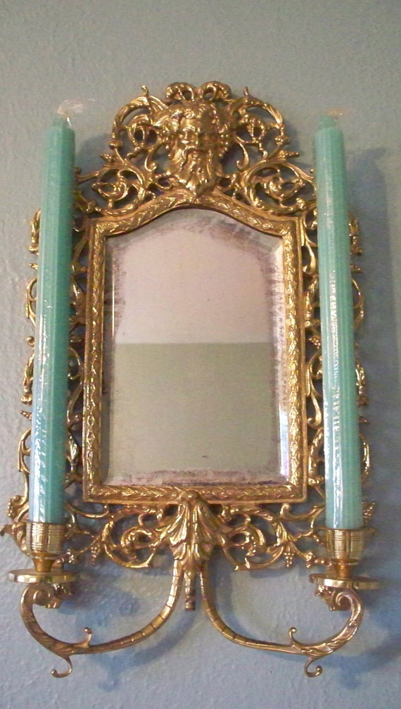 Antique Victorian French Chinoiserie Brass Wall Sconce Mirror