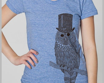 Owl T shirt Women's American Apparel Tshirt Top Hat tee shirt  S, M, L, XL 8 COLORS