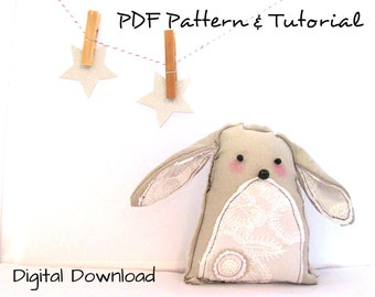 How to Sew A Bunny Pattern, kids and baby decor,Sewing Pattern,DIY,Instant Download