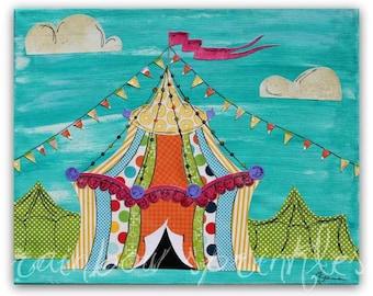 Nursery Wall Art, 16x20 Print- circus tent, Childrens Art, Kids Room Art, Nursery Decor