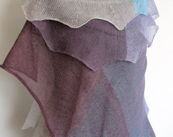 Linen Scarf Shawl Wrap Turquoise Blue Purple Violet Gray Striped Stole Light