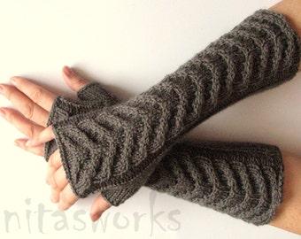 "Fingerless Gloves Long Dark Gray 12"" Arm Warmers Mittens Soft Acrylic Wool"