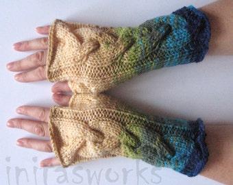 Fingerless Gloves Blue Turquoise Azure Beige Green Wrist Warmers Knit