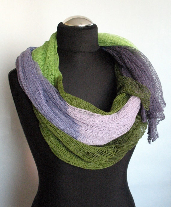 Linen Scarf Shawl Wrap Stole Green Salad Purple Multicolored, Light, Transparent