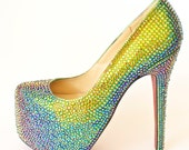 Vitrail Medium Crystal Strass Wedding Pump Heels Shoes made with Swarovski Elements Size 37 US 7