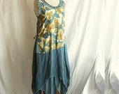 Blue Olive Asymmetric Fairy Tunic Size M L Upcycled Woman's Clothing Romantic Dress Funky Shabby Chic Style Upcycled Clothing