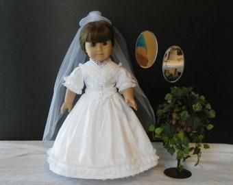 American Girl Doll Civil War Era wedding gown, veil, hoop skirt and pantlettes