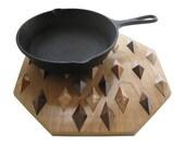 Wood decor trivet. Geometric woodwork hot pan holder. Wooden hot pad